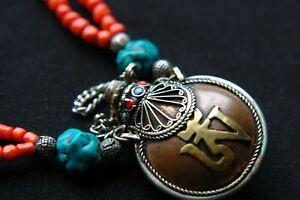 Antique necklace perfume bottle turquoise tibetan