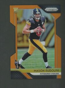 2018 Panini Neon Orange Die-Cut Prizm #225 Mason Rudolph Steelers RC Rookie /249
