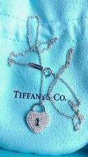 "TIFFANY & CO PLATINUM HEART LOCK F/VS1 DIAMOND PENDANT NECKLACE 16"""