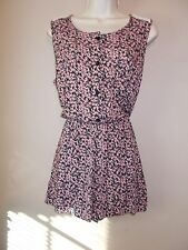 Womens Floral Multi-Color Romper Sleeveless Lace Trim