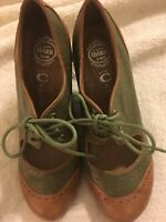 "NWOB Womens/Ladies Jeffrey Campbell ""Leslie"" Tan/Olive Leather Wedge Shoes 9M"
