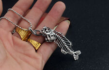 Personalized Fish Bone Whole Fish Skeleton Pendant Necklace Silver Creative New