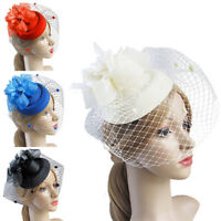 Fascinator Hat Pillbox Flower Veil Hatinator Wedding Ascot Races Clip Felt