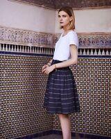 TOAST Darkest Indigo / Off White Woven Cotton GRETA Skirt BNWT UK 10 £95