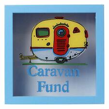 Caravan Fund Money Box Coins Piggy Bank Holiday Savings Pot Fund Glass Frame Jar