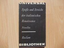Späße und Streiche der italienischen Renaissance -  Novellen - Reclam 1978