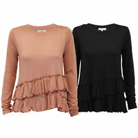 ladies top Brave Soul womens frill crew neck long sleeved summer fashion new