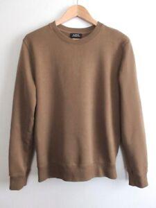 EUC A.P.C. Mens French Terry All Cotton Sweatshirt Light Brown Size S Moka