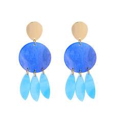 KISS ME Gold Beauty Blue Acrylic Beaded Teardrop Chic Drop Earrings ed01860c