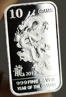 """10 grams .999 Fine Silver Bar, """"Year of the Dragon, 2012"""" design!,  NEW!"""