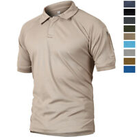 Mens Casual Polo Shirt Military Army Combat Outdoor Hiking Short Sleeve Tee Tops