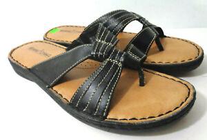 MINNETONKA Summit 70109 US 9M Black Leather Thong Sandals Shoes
