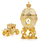 """Royal Imperial Beige Faberge Egg Replica: Extra Large 6.6"""" with Faberge carriage"""
