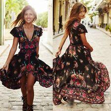 Boho Short Sleeve Women Summer Floral V Neck Party A-Line Long Maxi Sun Dress