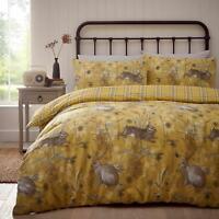 Ochre Duvet Covers Rabbit Tartan Check Reversible Yellow Quilt Cover Bedding Set