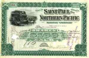 1893 Saint Paul & Northern Pacific RW Stock Certificate