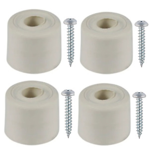 4x Rubber Door Stop Wedge White Hold Open Buffer Stopper Jammer Including Screws