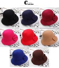 Fashion Ladies Women Cloche Hat Felt Bucket Fedora Bowler Dome Bow Cap Vintage