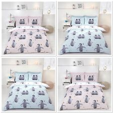 Rapport Starry Penguins Reversible Duvet Cover Bedding Set Blush Pink or Blue