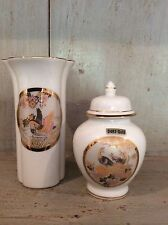 Two JAPANESE VASES DECORATED IN 24ct GOLD