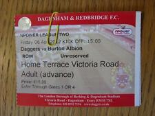 06/04/2012 Ticket: Dagenham And Redbridge v Burton Albion
