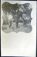 **1900's RPPC ~ MEN WITH BICYCLES ~ 1900's RACING BIKE ?  Real Photo PC
