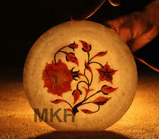 White Marble Inlay Serving Dish Plate Carnelian Rose Floral Marquetry Decor Arts