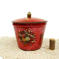 Vintage Red Crackle Metal Candy Tin Roses Bouquet Container Made in Holland