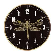 WIDDOP Wall Clock Beautiful Black Glass And Gold Dragonfly    12 MONTHS WARRANTY