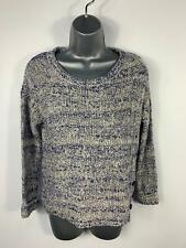 WOMENS MARKS&SPENCER BLUE/WHITE KNITTED CASUAL JUMPER PULLOVER SWEATER SIZE 8