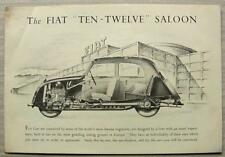 FIAT TEN-TWELVE Car Sales Brochure c1938  Saloon CONVERTIBLE Drophead Coupe