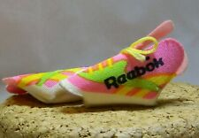BARBIE DOLL & FAMILY REEBOK CLOTH SNEAKERS OPEN TOE PINK YELLOW LACES F105