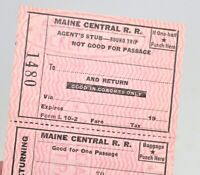 Vintage Maine Central Railroad Ticket Round Trip Agents Stub Unused  SM2A