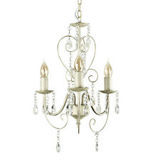 Shabby Chic Vintage Style Off White Cream 3 Way Jewel Chandelier Ceiling Light