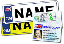 Personalised Novelty Childrens Kids Driving Licence and Numberplates Set
