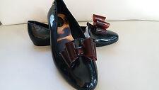 Melissa Vivienne Westwood black bow jelly ballerina flats shoes US8-9 EU39-40