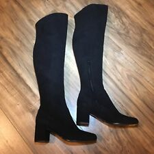 Vince Blythe Suede Over The Knee Block Heel Boots Size 5.5 $695 Italy Round Toe