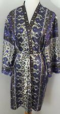 Womens Oscar De la Renta Boho Style Kimono Robe Purple Floral poly Lg belted