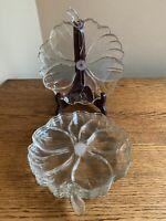 SET OF 4 Vintage Clear Glass Flower Shaped Dessert Salad Plates - EUC!