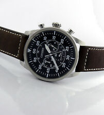 CITIZEN MEN ECO-DRIVE JAPAN MADE CHRONOGRAPH SOLID STEEL44mm LEATHER CA4210-16E