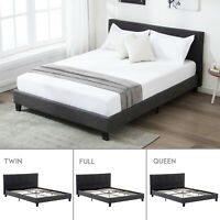 Twin/Full/Queen Size Platform Bed Frame Upholstered Headboard & Slats Bedroom