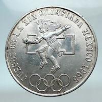 1968 Mexico XIX Olympic Games Aztec Ball Player BIG 25 Pesos Silver Coin i80804