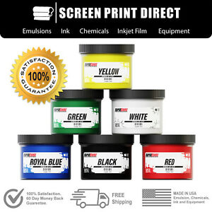 Screen Printing Plastisol Ink Kit - Low Temp Cure 270F - 6 Colors - 8oz