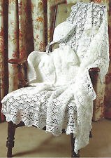 CROCHET MATINEE JACKET BONNET & SHAWL PATTERN PREMATURE BABY DOLL BY EMAIL (679)
