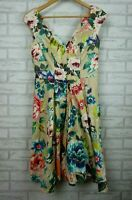 Leina Broughton Fit & flare dress Sleeveless Beige pink green blue floral print