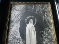 Antique Neyret Freres Stevengraph Woven silk Painting of Lourdes in frame