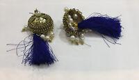 Antique Vintage Victorian Earrings Dangle Drop Brass Stud Women Jewelry Paste