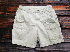 Savane Men's Khaki Cargo Hiking Walking Utility Shorts Cotton Cream Size 32