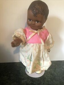 """Precious black, 12"""" jointed hard vinyl """"Scootles"""" type doll 1991~"""