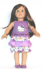 Purple Hello Kitty Top + Flower Skirt Set 18 in Doll Clothes Fits American Girl